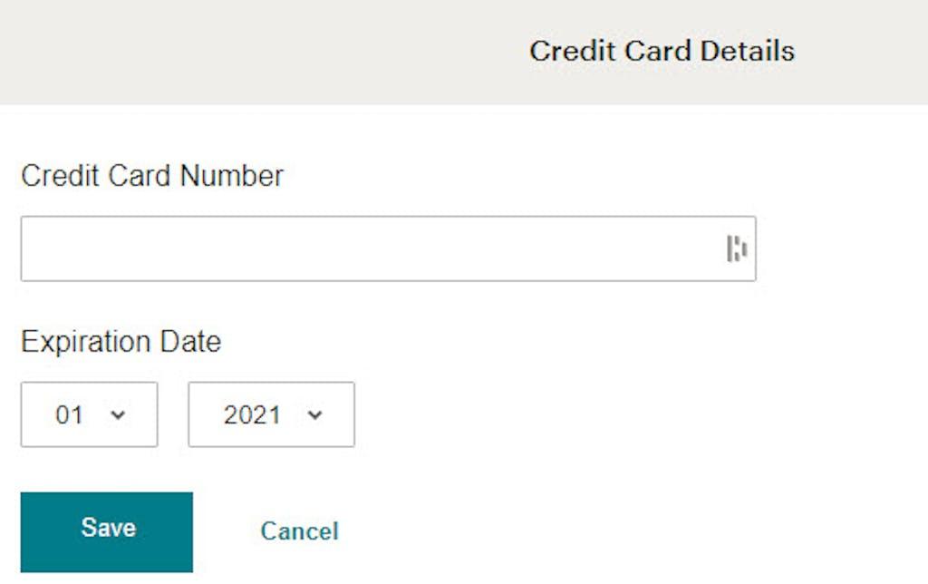 Mailchimp add credit card